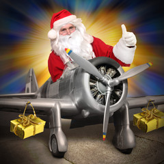 Santa Claus with his cargo plane.
