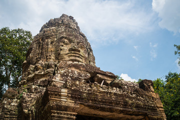 The face of Ba-yon in Angkor-thom the kingdom of ancient Khmer
