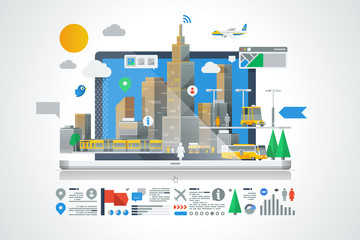 colorful city background with info graphic elements