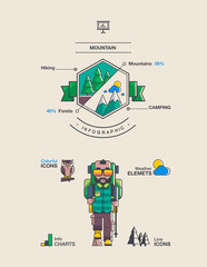 mountain and hiking background, vector elements.