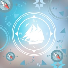 ship white background traveler compasses stylized design