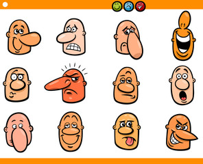 cartoon people emoticons heads set