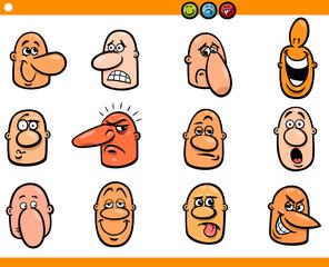 cartoon people emoticons heads set