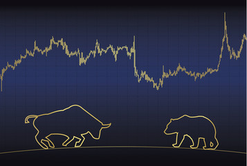 Silhouette of a bull and a bear, and a price chart