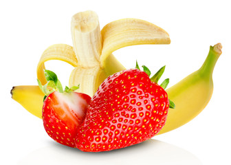 bananas and strawberries isolated on the white background