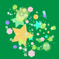 abstract colorful sta on green background
