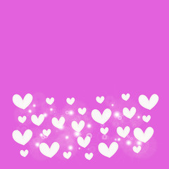 abstract white heart on pink  background