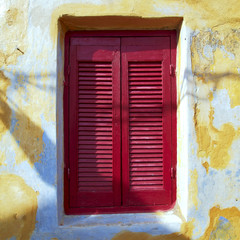 Athens Greece, vintage house red window