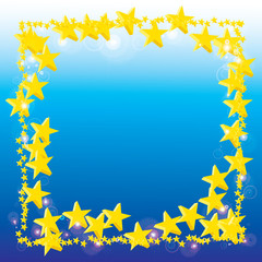 abstract gold star on blue background