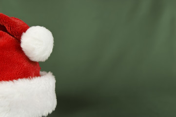 Santa Hat On Green Background