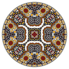 decorative design of circle dish template, round geometric patte