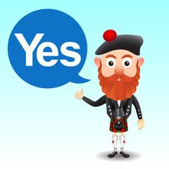 Scottish character in kilt
