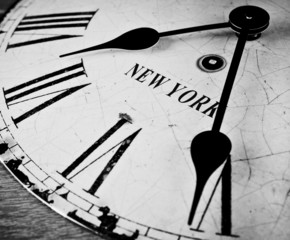 New York city clock black and white