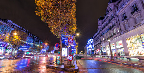 PARIS - DECEMBER 2, 2012: Lights of Champs Elysees at night. The