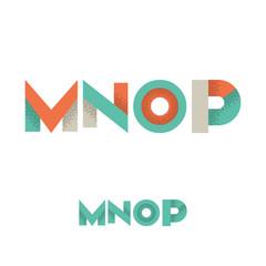 M N O P Modern Flat Alphabet with Noise Shadow