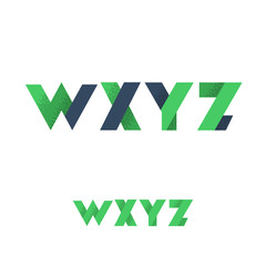 W X Y Z Modern Flat Alphabet with Noise Shadow