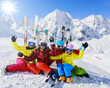 Skiing, winter, snow, skiers - family enjoying winter