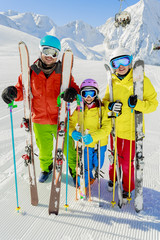 Ski, skiers enjoying winter vacation