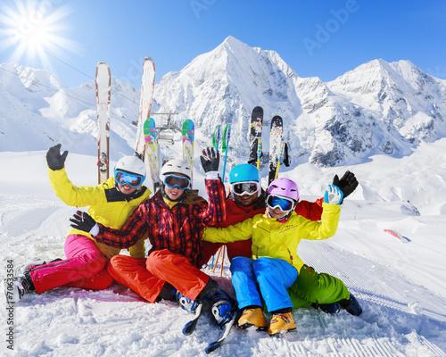 Skiing, winter, snow, skiers - family enjoying winter - 70633584