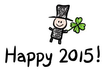 HAPPY 2015! – mit Schornsteinfeger und Kleeblatt, Vektor