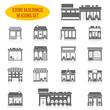 Store building icons set black - 70634147
