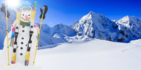 Ski, winter, snow, snowman - winter joy, winter sport