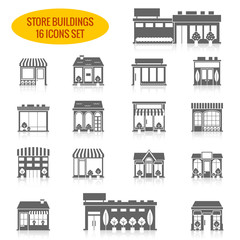 Store building icons set black