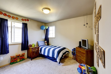 Boys room interior with blue details