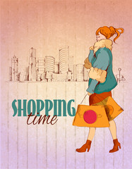 Shopping city poster