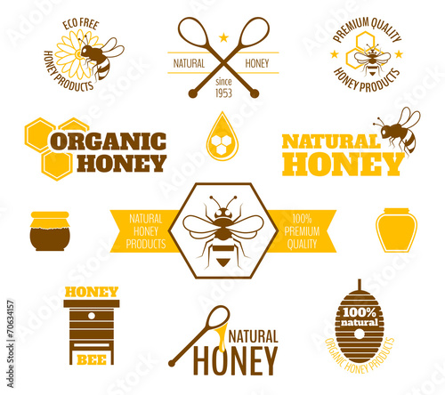 Bee honey label colored