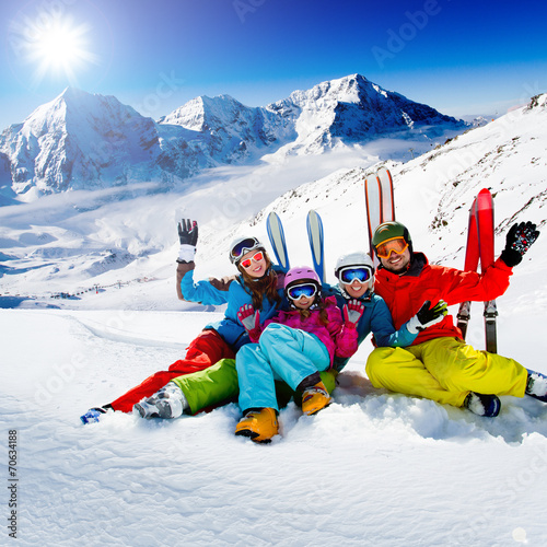 Skiing, winter, snow, skiers - family enjoying winter - 70634188