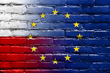 Poland and European Union Flag painted on brick wall