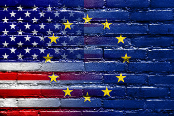United States and European Union Flag painted on brick wall