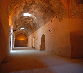 Interior of the Royal stables in Meknes, Morocco