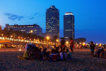 Somorrostro Beach   in summer night. Barcelona