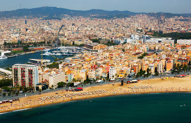 aerial view of Barceloneta beach.  Barcelona