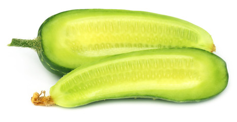 Sliced young cucumber