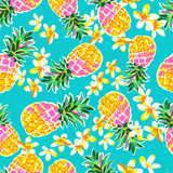 Fototapety Cute pineapples seamless print