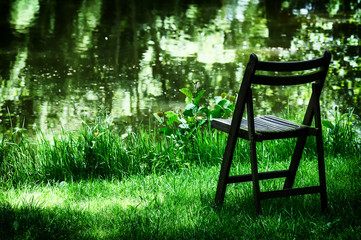 Lonely old chair in garden
