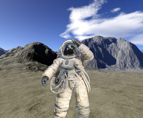 Digital render of landscape with astronaut