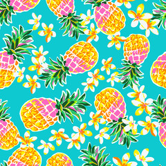 Cute pineapples seamless print