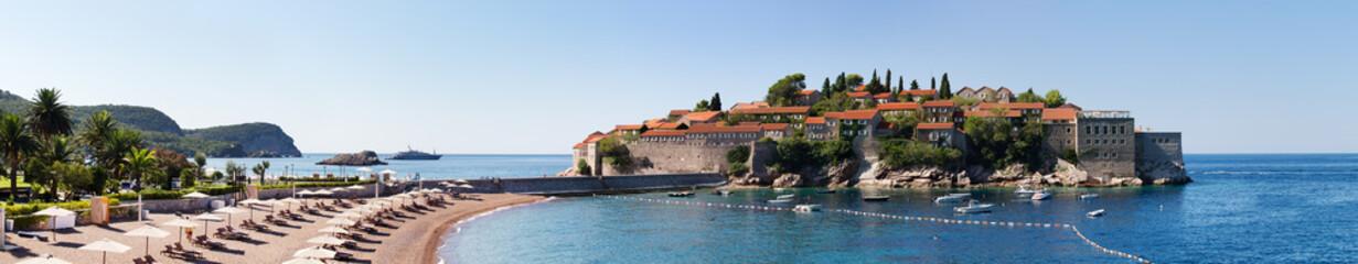 Famous Sveti stefan island in Montenegro, modern luxury resort.