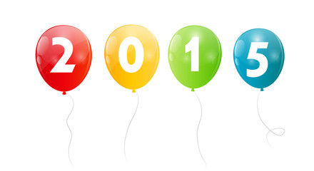 Color Glossy Balloons 2015  New Year Background Vector Illustrat
