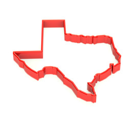 Texas region map. State territory representation. 3D red