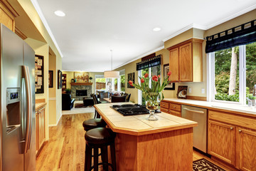 Luxury house interior. Kitchen room