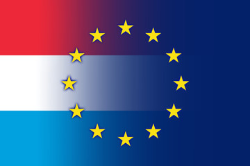Luxembourg and European Union Flag