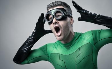 Cool superhero shouting out loud