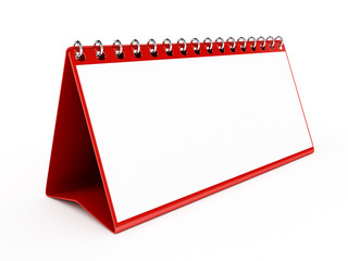 3d Red Blank Calendar - isolated