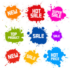 Business Colorful Vector Icons - Sale Blots - Splashes Labels