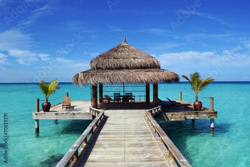 Leinwanddruck Bild Steg Malediven
